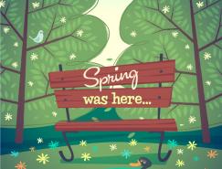 美丽的春天自然风光矢量素材