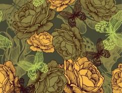 复古风格花朵和蝴蝶背景矢量素材