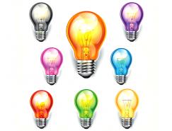 不同颜色的灯泡矢量素材