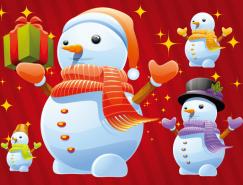 紅色背景可愛卡通雪人矢量素材