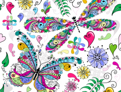 色彩缤纷的蝴蝶背景矢量素材