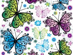 色彩缤纷的蝴蝶背景矢量素材(2)