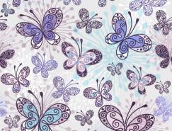 色彩缤纷的蝴蝶背景矢量素材(3)