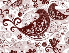 抽象小鸟花纹背景矢量素材