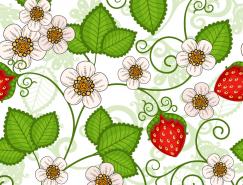 草莓背景无缝图案矢量素材