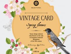 小鸟和复古花卉卡片设计矢量素材