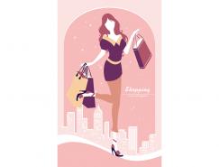 城市背景的時尚購物女郎矢量素材