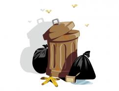 垃圾桶和垃圾袋矢量素材