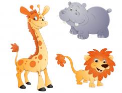 3种可爱卡通动物矢量素材