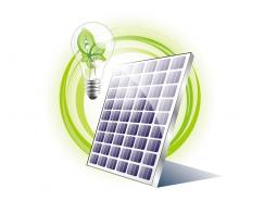 太阳能板和绿叶灯泡矢量素材