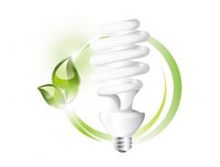 绿叶和节能灯泡矢量素材