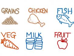 手绘食品图标矢量素材