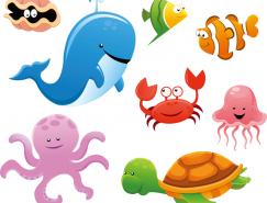 可愛卡通海洋生物矢量素材