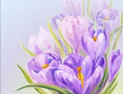 紫色花卉水彩畫矢量素材