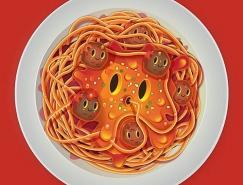 Jonathan Ball创意卡通食物插画