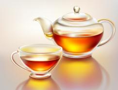 逼真的玻璃茶壺和茶杯矢量素