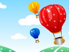 热气球和美丽风光矢量素材