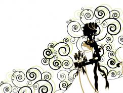 花纹背景手捧玫瑰的新娘矢量素材
