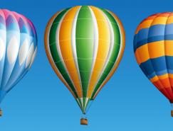 3个漂亮的彩色热气球矢量素材