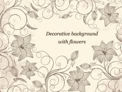 複古花卉花紋裝飾背景矢量素材