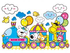 可爱卡通火车和动物矢量素材