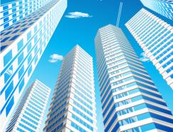 城市高楼和蓝天背景矢量素材