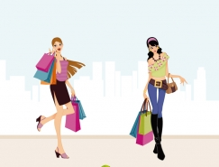 時尚購物女郎矢量素材(二)