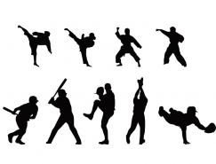 武術和棒球運動人物剪影矢量素材