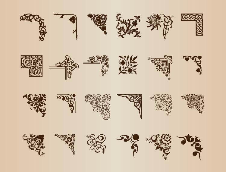 复古欧式花纹装饰边框矢量素材