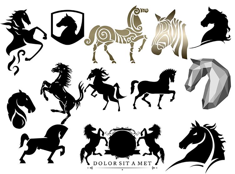 各种骏马和马头剪影psd素材 - 设计之家