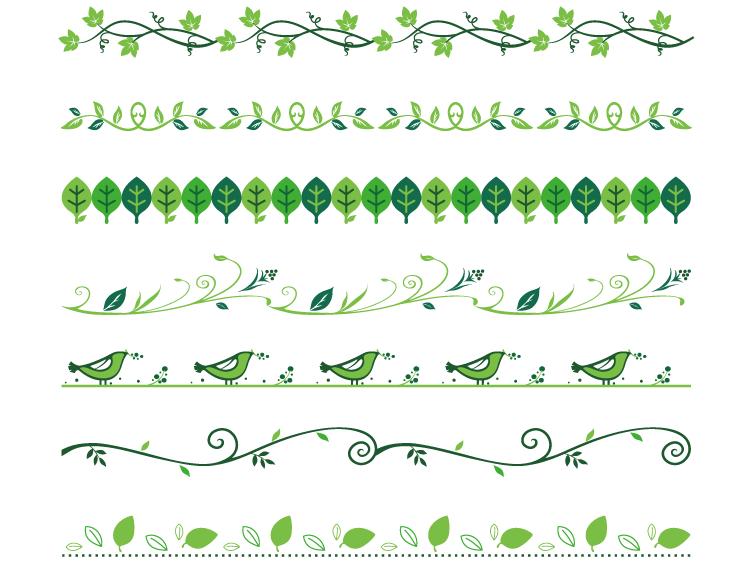 绿叶花边矢量素材(2)