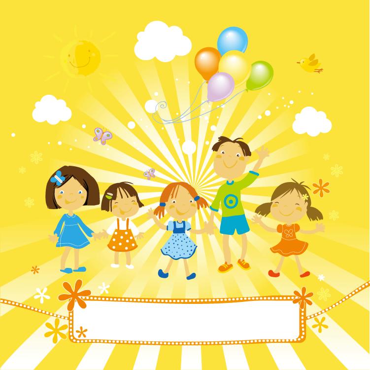 可爱儿童和气球背景矢量素材