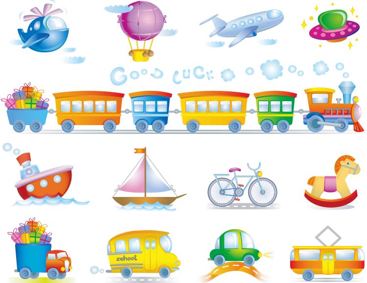 可爱玩具汽车和飞机矢量素材