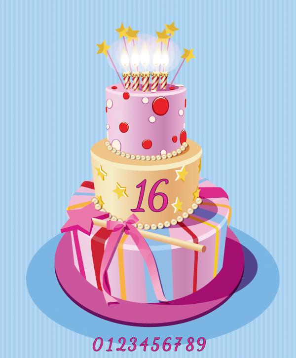 三层生日蛋糕矢量素材