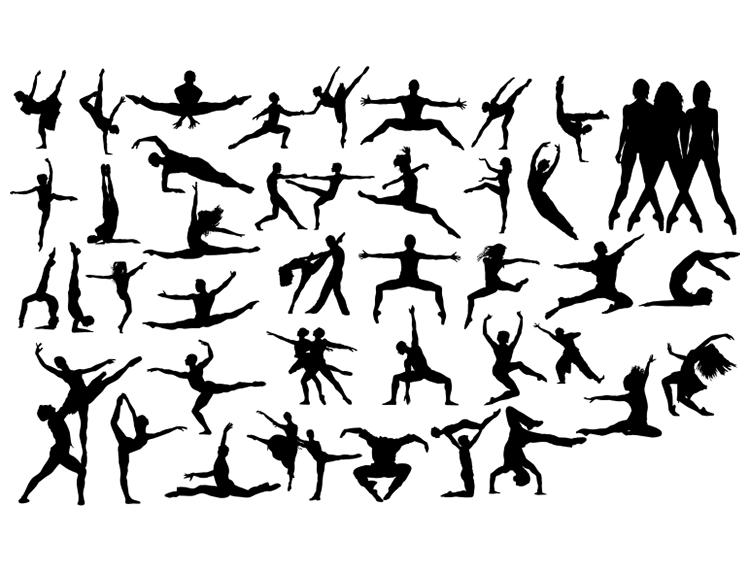 芭蕾舞者优雅动作剪影矢量素材