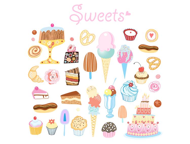 手绘风格冰淇淋和蛋糕矢量素材