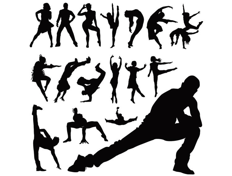 舞蹈人物动作剪影矢量素材