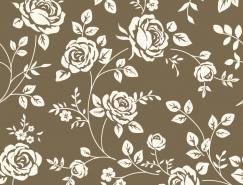 复古风格玫瑰花无缝背景矢量素材(1)