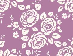 複古風格玫瑰花無縫背景矢量素材(2)