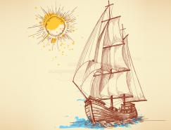 複古風格手繪帆船矢量素材