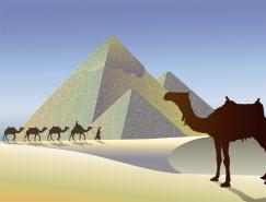駱駝和金字塔矢量素材(2)