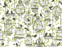鸟笼和小鸟无缝背景矢量素材(1)