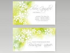 淡雅綠色背景花朵名片模板矢量素材