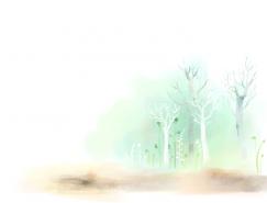 水彩�y树背景PSD素材