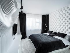 動感的波浪墻:黑與白演繹完美臥室空間