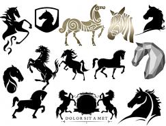 各種駿馬和馬頭剪影PSD素材