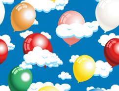 气球与云朵无缝背景矢量素材