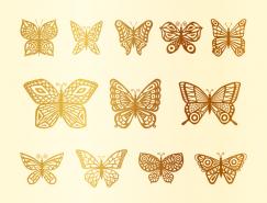 12款剪纸风格金色蝴蝶矢量素材