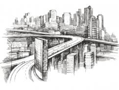 手绘繁华都市高楼矢量素材