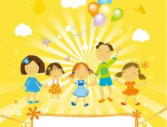 可愛兒童和氣球背景矢量素材